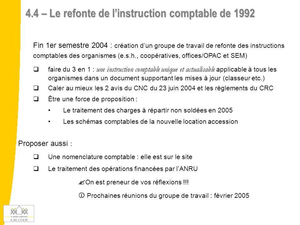 4.4 – Le refonte de linstruction comptable de 1992 Fin 1er semestre 2004 : création dun groupe de travail de refonte des instructions comptables des o