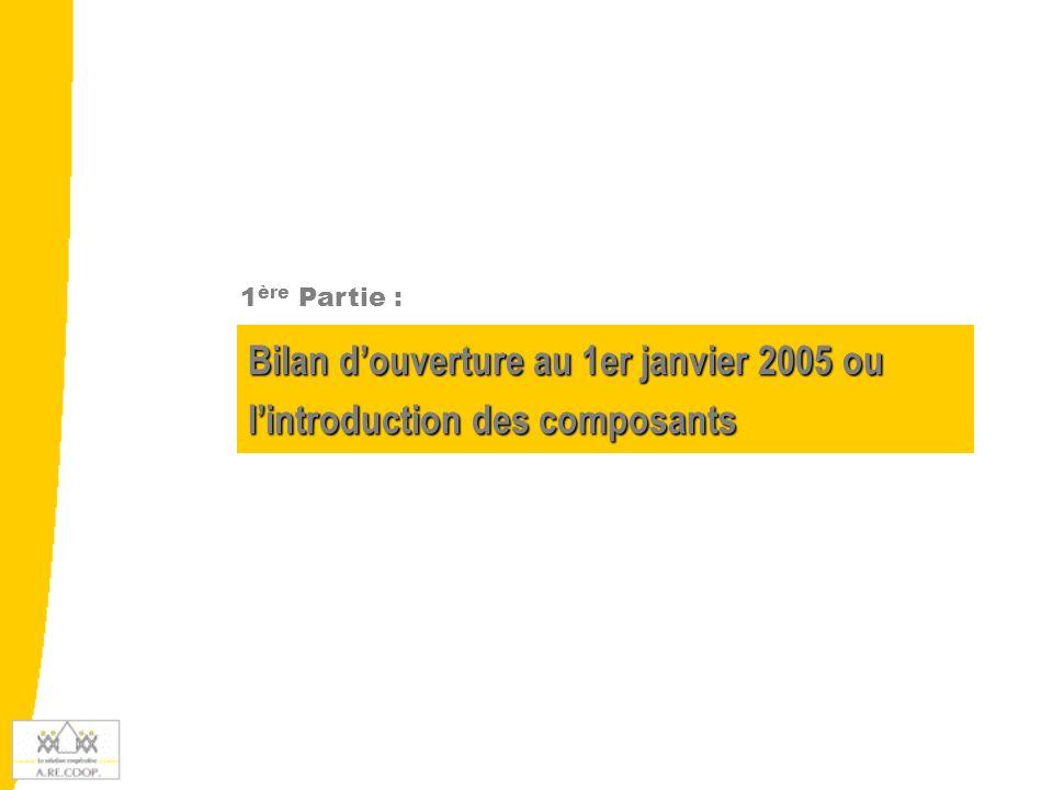 Bilan douverture au 1er janvier 2005 ou lintroduction des composants 1 ère Partie :