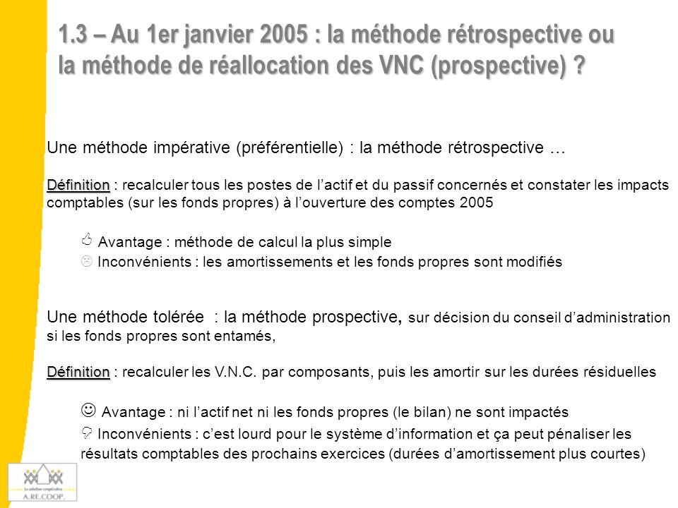 1.3 – Au 1er janvier 2005 : la méthode rétrospective ou la méthode de réallocation des VNC (prospective) ? Une méthode impérative (préférentielle) : l