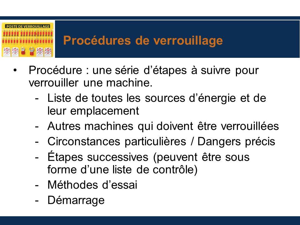 Procédures de verrouillage Procédure : une série détapes à suivre pour verrouiller une machine. -Liste de toutes les sources dénergie et de leur empla