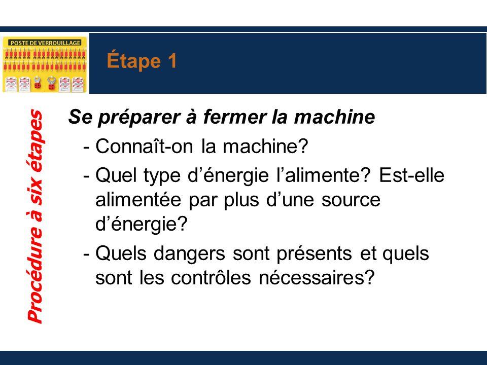 Étape 1 Se préparer à fermer la machine -Connaît-on la machine? -Quel type dénergie lalimente? Est-elle alimentée par plus dune source dénergie? -Quel