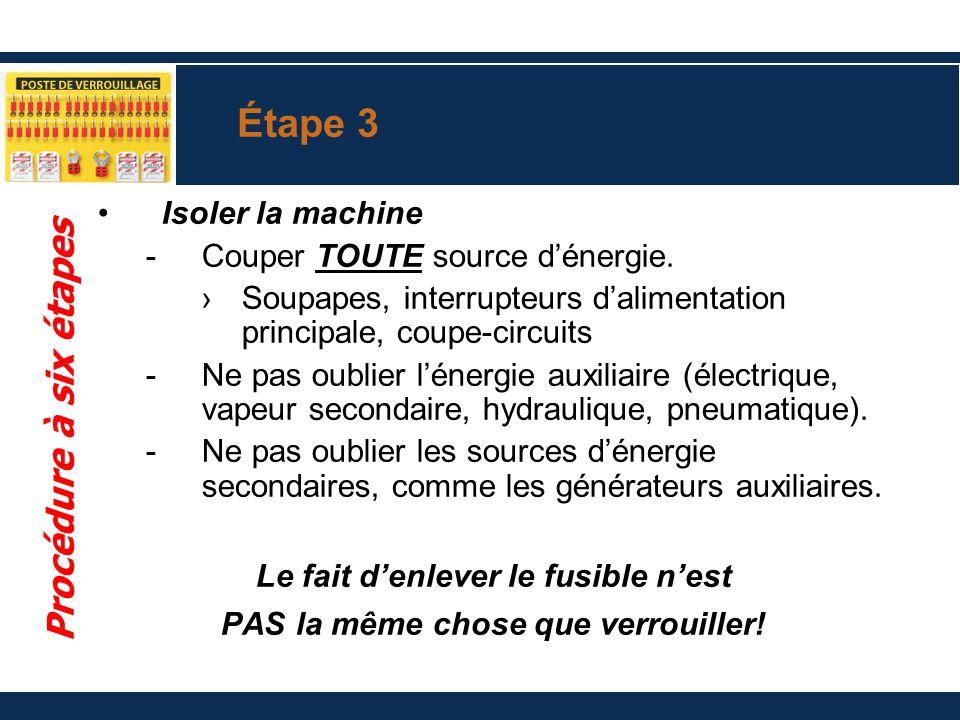 Étape 3 Isoler la machine -Couper TOUTE source dénergie. Soupapes, interrupteurs dalimentation principale, coupe-circuits -Ne pas oublier lénergie aux