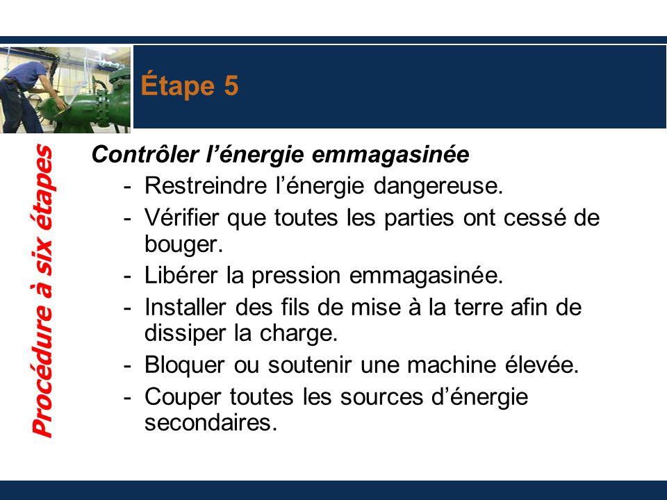 Étape 5 Contrôler lénergie emmagasinée -Restreindre lénergie dangereuse. -Vérifier que toutes les parties ont cessé de bouger. -Libérer la pression em