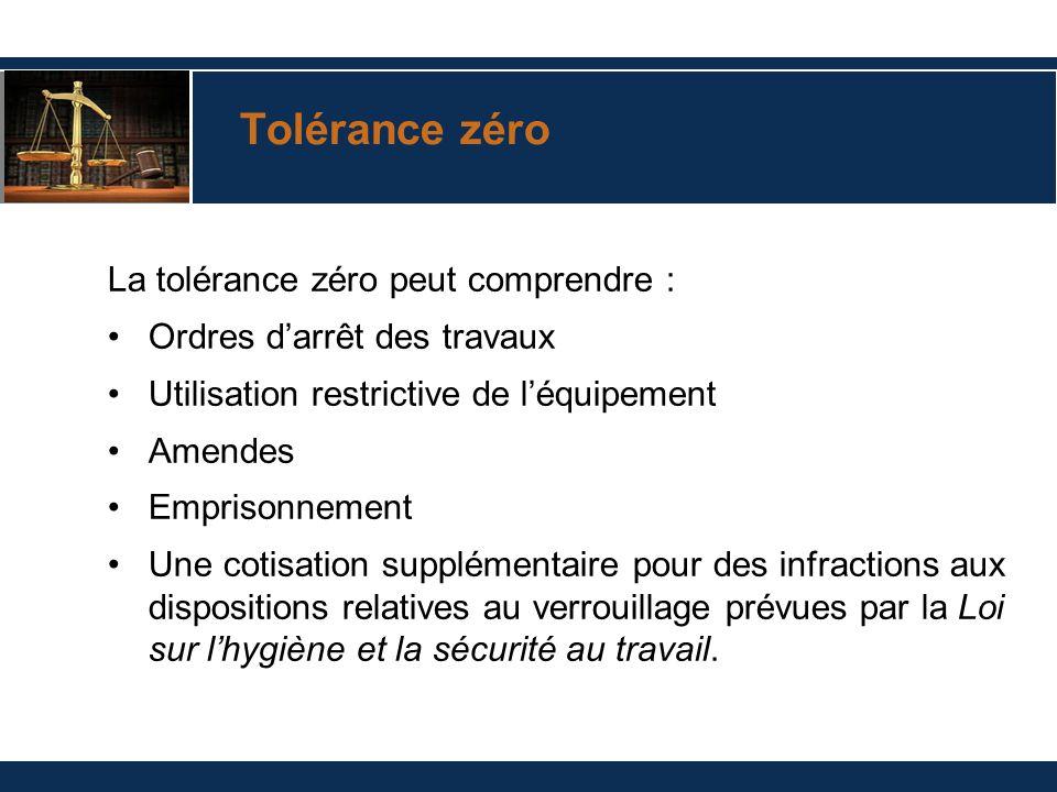 Tolérance zéro La tolérance zéro peut comprendre : Ordres darrêt des travaux Utilisation restrictive de léquipement Amendes Emprisonnement Une cotisat