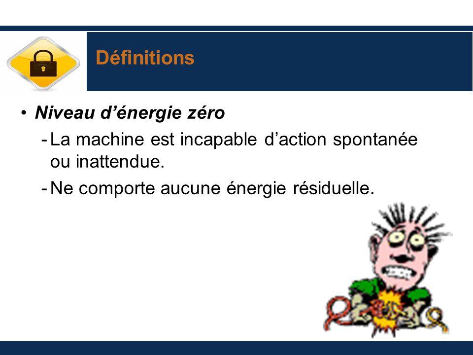 Définitions Niveau dénergie zéro -La machine est incapable daction spontanée ou inattendue. -Ne comporte aucune énergie résiduelle.