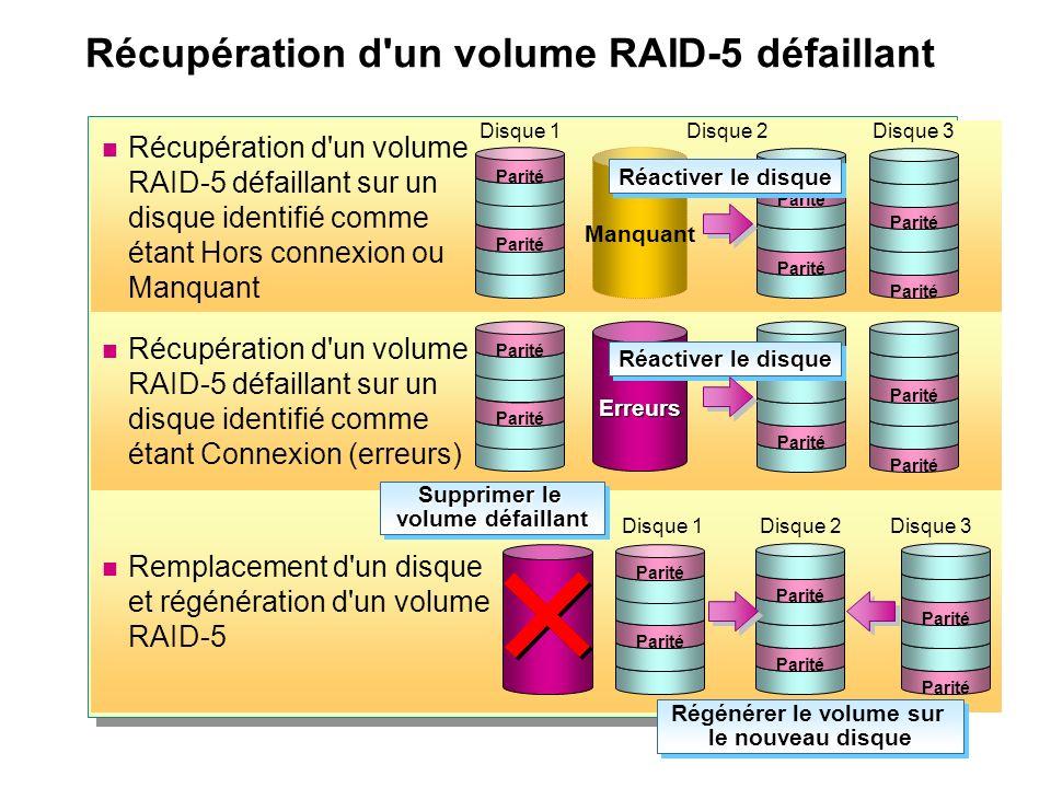 Remplacement d'un disque et régénération d'un volume RAID-5 Récupération d'un volume RAID-5 défaillant Récupération d'un volume RAID-5 défaillant sur