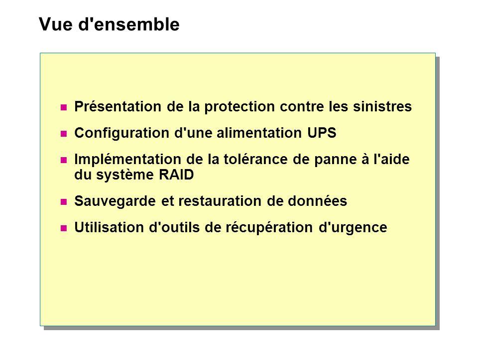 Vue d'ensemble Présentation de la protection contre les sinistres Configuration d'une alimentation UPS Implémentation de la tolérance de panne à l'aid