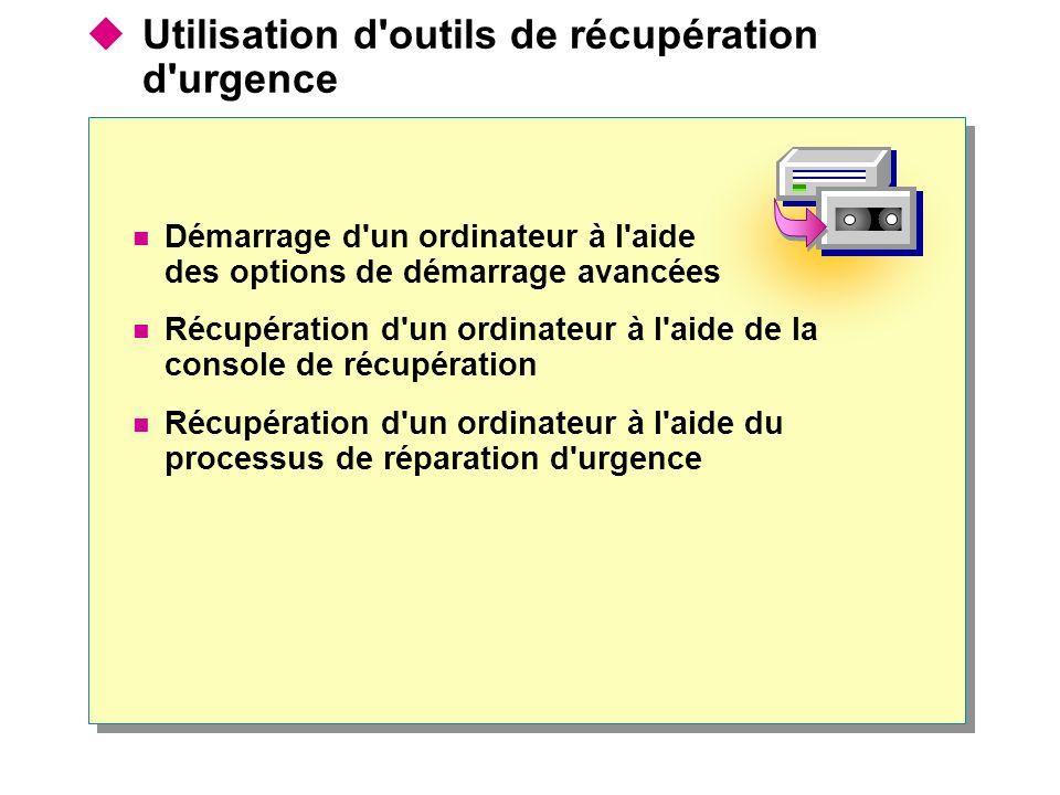 Utilisation d'outils de récupération d'urgence Démarrage d'un ordinateur à l'aide des options de démarrage avancées Récupération d'un ordinateur à l'a