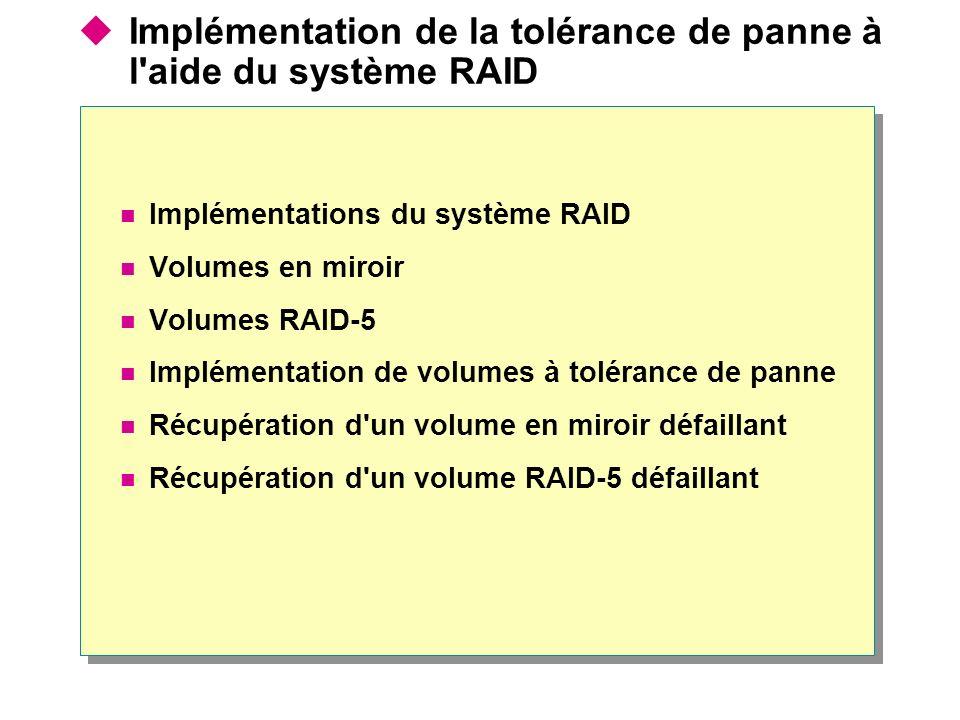 Implémentations du système RAID Implémentation logicielle du système RAID (prise en charge par Windows 2000 Server) RAID 0 : volumes agrégés par bandes RAID 1 : volumes en miroir RAID 5 : volumes agrégés par bandes avec parité Implémentation matérielle du système RAID L interface du contrôleur de disques gère la création et la régénération d informations redondantes Le niveau du système RAID dépend du fabricant du matériel