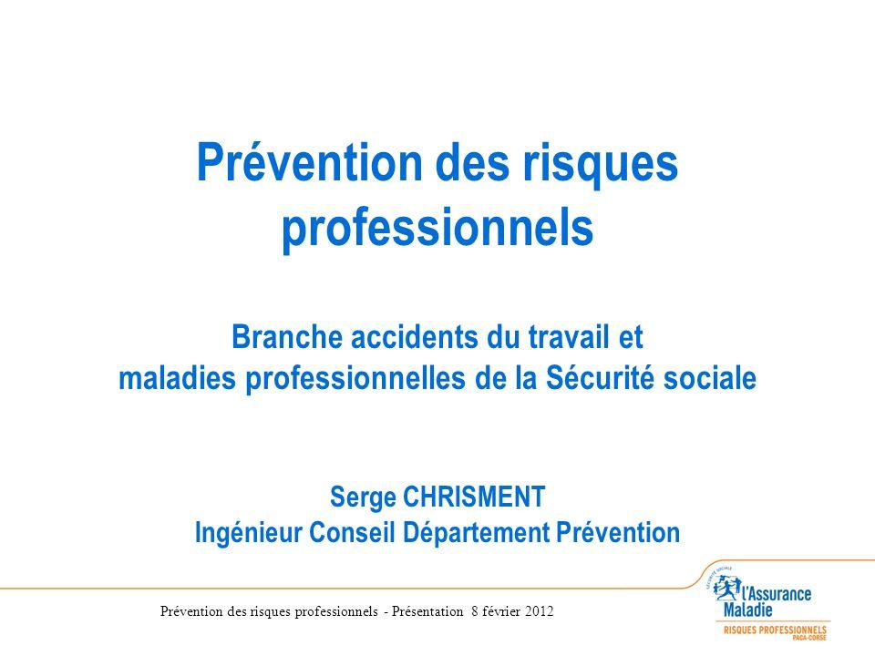 Prévention des risques professionnels - Présentation 8 février 2012 Prévention des risques professionnels Branche accidents du travail et maladies pro