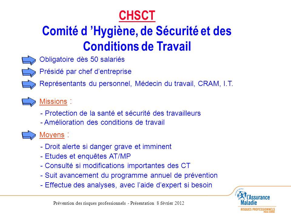 Prévention des risques professionnels - Présentation 8 février 2012 CHSCT Comité d Hygiène, de Sécurité et des Conditions de Travail Présidé par chef