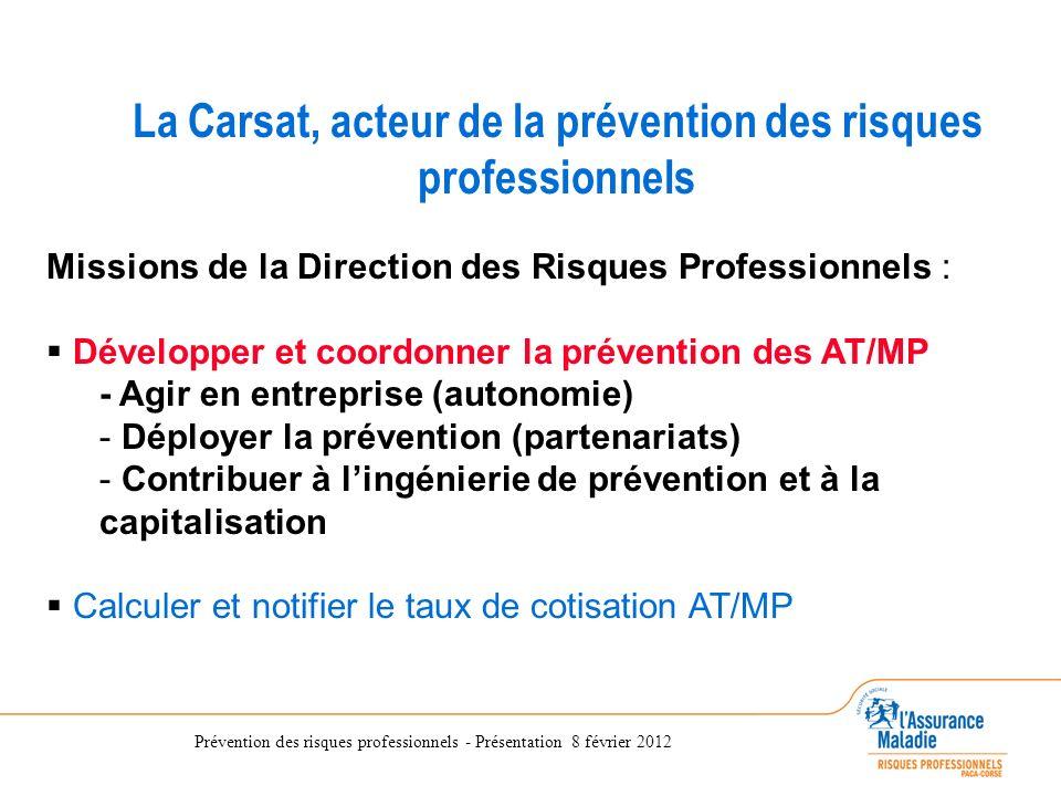 Prévention des risques professionnels - Présentation 8 février 2012 La Direction des Risques Professionnels de la CRAM du Sud-Est La Carsat, acteur de