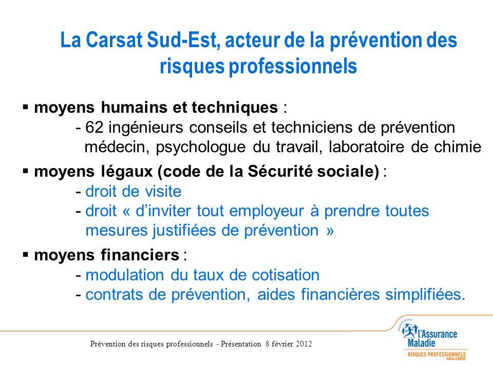 Prévention des risques professionnels - Présentation 8 février 2012 La Direction des Risques Professionnels de la CRAM du Sud-Est La Carsat Sud-Est, a