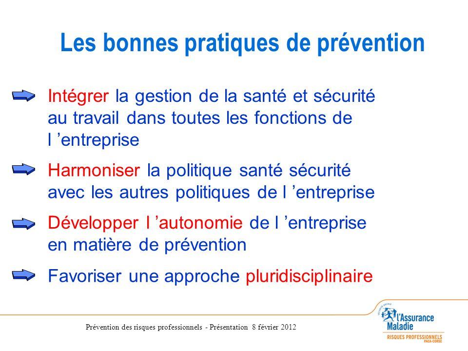 Prévention des risques professionnels - Présentation 8 février 2012 Intégrer la gestion de la santé et sécurité au travail dans toutes les fonctions d