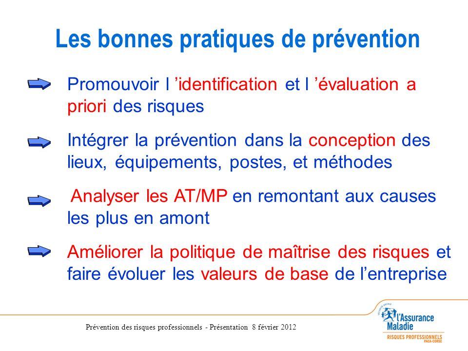 Prévention des risques professionnels - Présentation 8 février 2012 Analyser les AT/MP en remontant aux causes les plus en amont Promouvoir l identifi