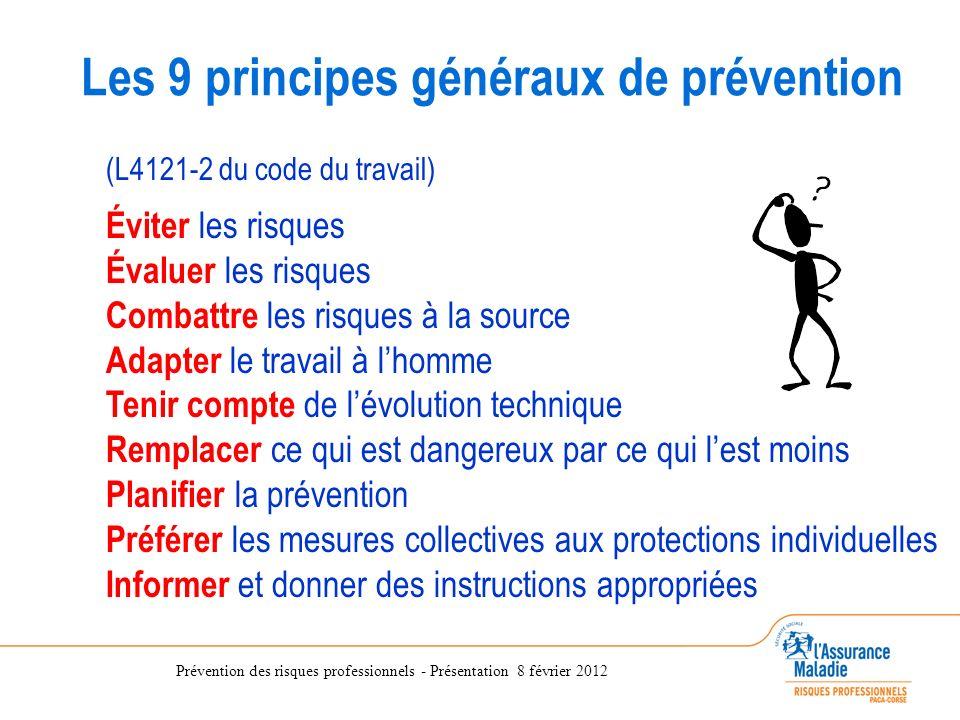 Prévention des risques professionnels - Présentation 8 février 2012 (L4121-2 du code du travail) Éviter les risques Évaluer les risques Combattre les