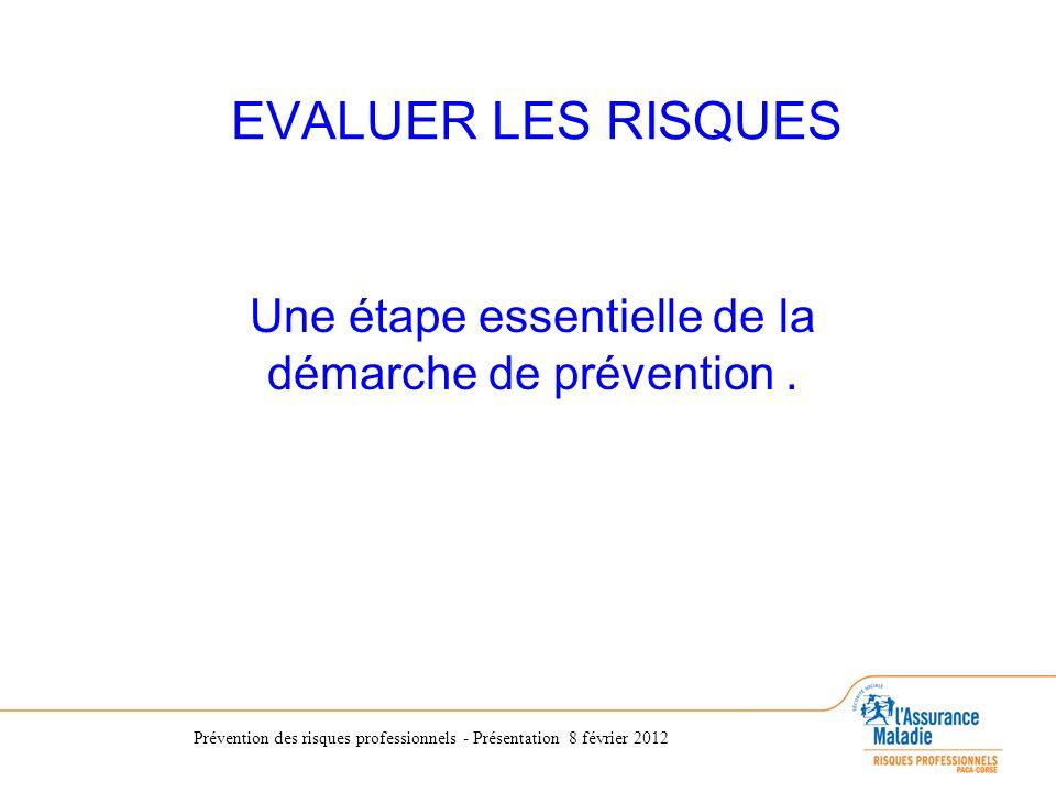 Prévention des risques professionnels - Présentation 8 février 2012 EVALUER LES RISQUES Une étape essentielle de la démarche de prévention.