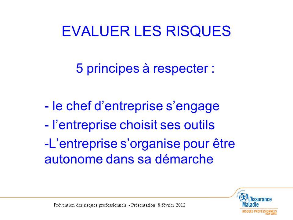 Prévention des risques professionnels - Présentation 8 février 2012 EVALUER LES RISQUES 5 principes à respecter : - le chef dentreprise sengage - lent