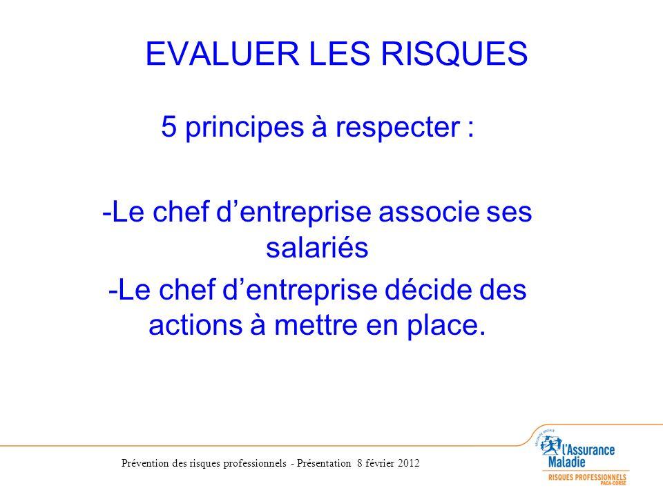 Prévention des risques professionnels - Présentation 8 février 2012 EVALUER LES RISQUES 5 principes à respecter : -Le chef dentreprise associe ses sal