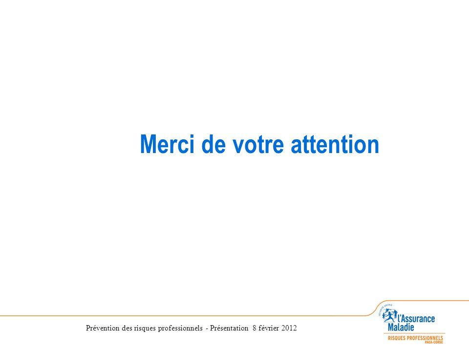 Prévention des risques professionnels - Présentation 8 février 2012 Merci de votre attention