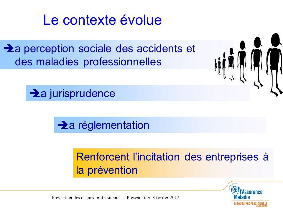 Prévention des risques professionnels - Présentation 8 février 2012 La perception sociale des accidents et des maladies professionnelles La jurisprude