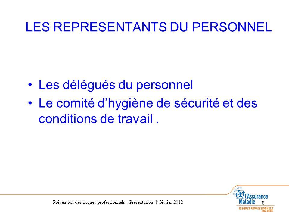 Prévention des risques professionnels - Présentation 8 février 2012 8 LES REPRESENTANTS DU PERSONNEL Les délégués du personnel Le comité dhygiène de s