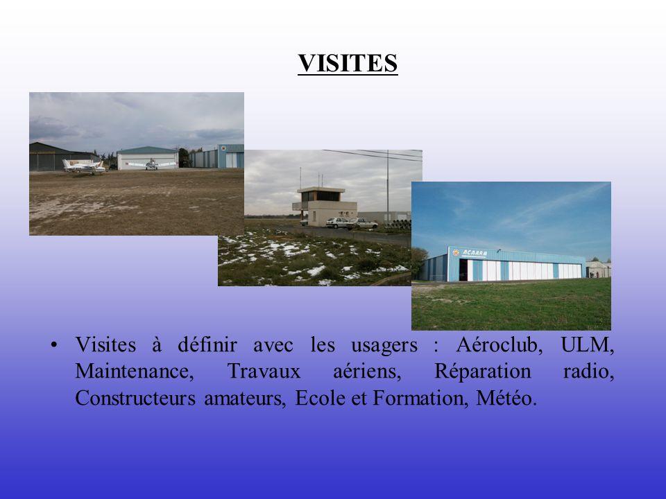 VISITES Visites à définir avec les usagers : Aéroclub, ULM, Maintenance, Travaux aériens, Réparation radio, Constructeurs amateurs, Ecole et Formation, Météo.