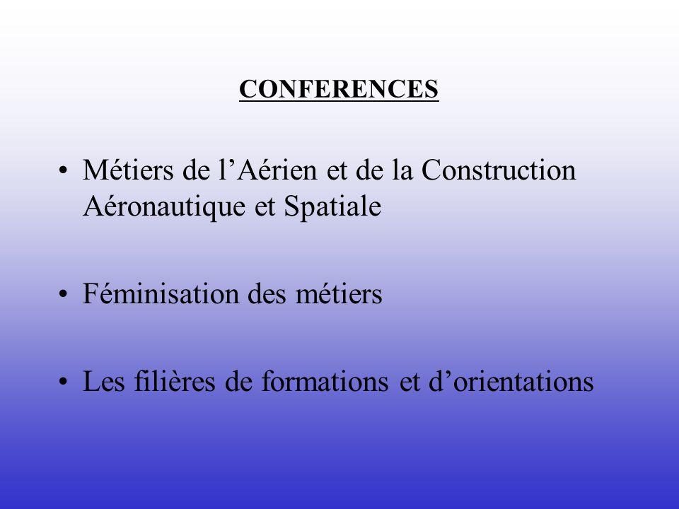CONFERENCES Métiers de lAérien et de la Construction Aéronautique et Spatiale Féminisation des métiers Les filières de formations et dorientations