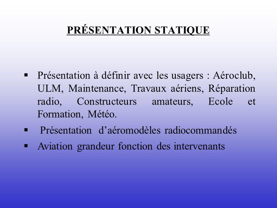 PRÉSENTATION STATIQUE Présentation à définir avec les usagers : Aéroclub, ULM, Maintenance, Travaux aériens, Réparation radio, Constructeurs amateurs, Ecole et Formation, Météo.