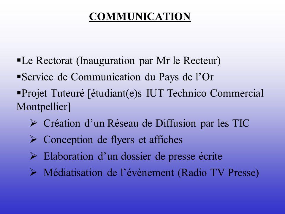 COMMUNICATION Le Rectorat (Inauguration par Mr le Recteur) Service de Communication du Pays de lOr Projet Tuteuré [étudiant(e)s IUT Technico Commercia