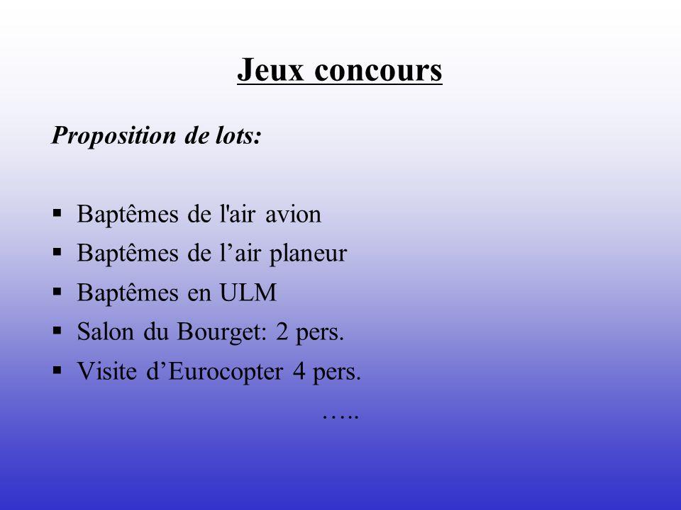 Jeux concours Proposition de lots: Baptêmes de l'air avion Baptêmes de lair planeur Baptêmes en ULM Salon du Bourget: 2 pers. Visite dEurocopter 4 per