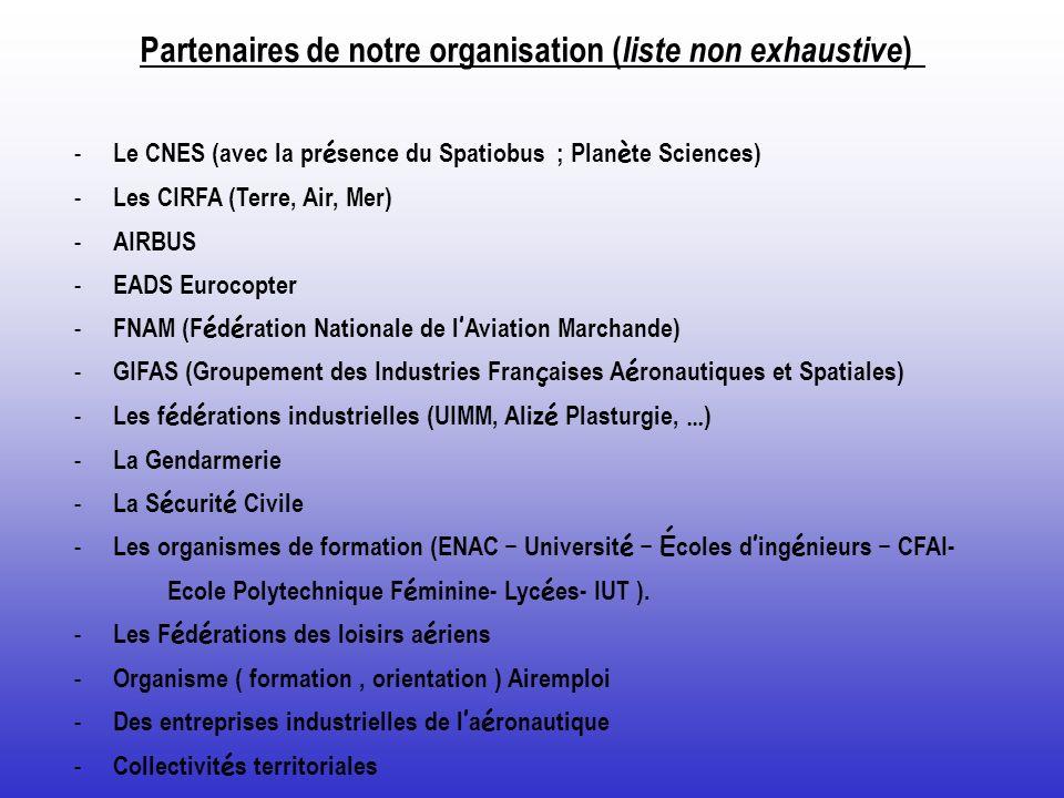 Partenaires de notre organisation ( liste non exhaustive ) - Le CNES (avec la pr é sence du Spatiobus ; Plan è te Sciences) - Les CIRFA (Terre, Air, M