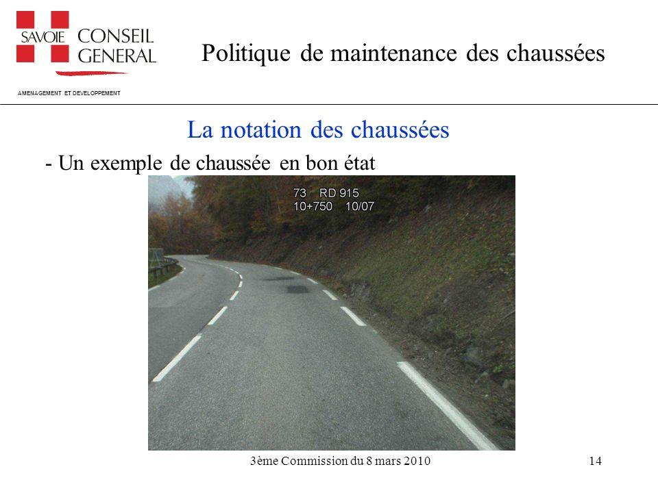 AMENAGEMENT ET DEVELOPPEMENT Politique de maintenance des chaussées 3ème Commission du 8 mars 201014 La notation des chaussées - Un exemple de chaussée en bon état