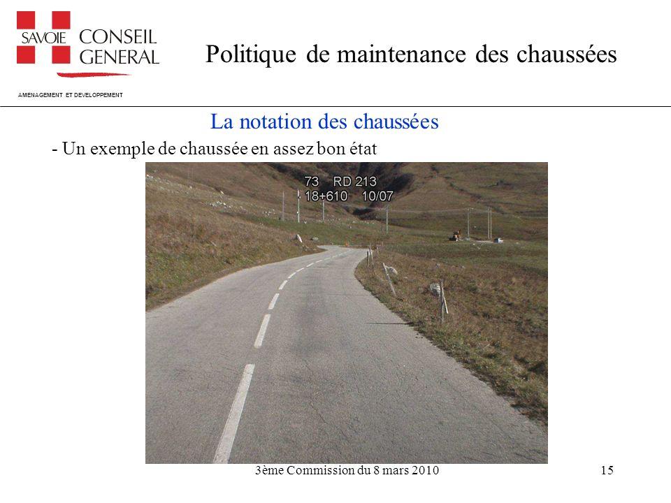 AMENAGEMENT ET DEVELOPPEMENT Politique de maintenance des chaussées 3ème Commission du 8 mars 201015 La notation des chaussées - Un exemple de chaussée en assez bon état