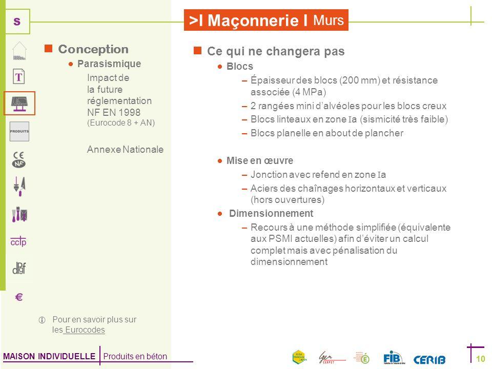 MAISON INDIVIDUELLE Produits en béton >I Maçonnerie I 10 Murs 10 Ce qui ne changera pas Blocs –Épaisseur des blocs (200 mm) et résistance associée (4
