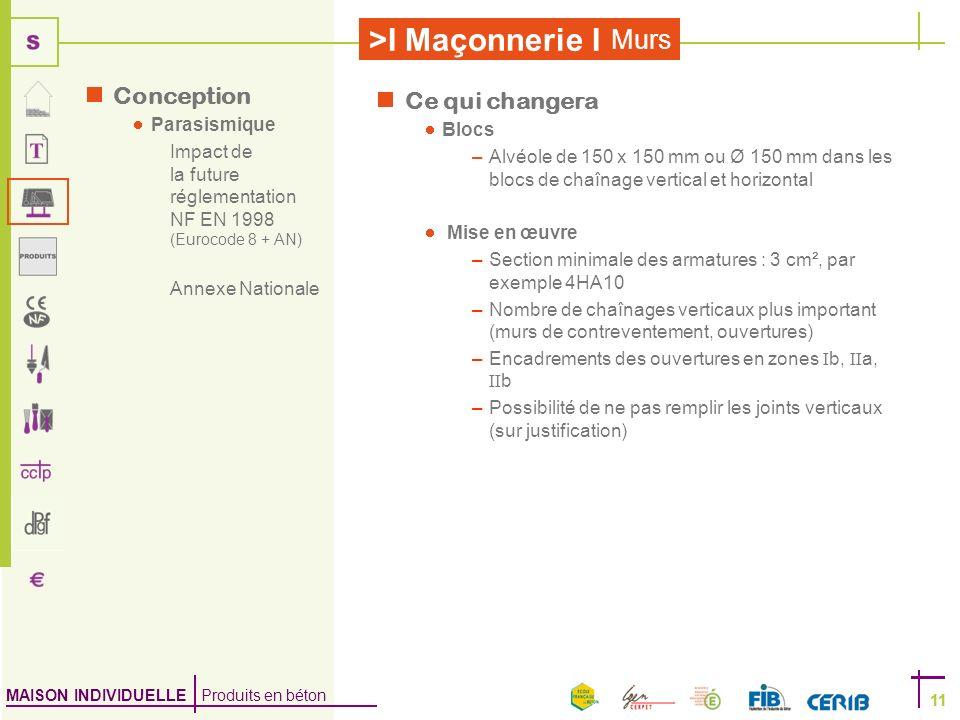MAISON INDIVIDUELLE Produits en béton >I Maçonnerie I 11 Murs 11 Ce qui changera Blocs –Alvéole de 150 x 150 mm ou Ø 150 mm dans les blocs de chaînage