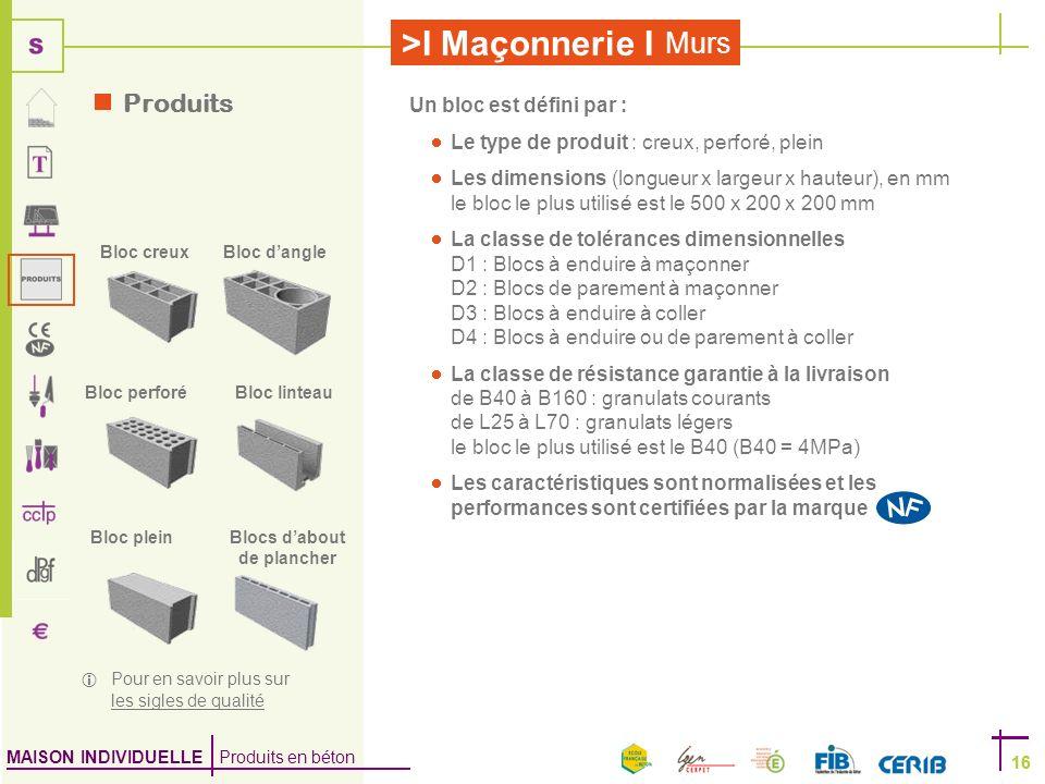 MAISON INDIVIDUELLE Produits en béton >I Maçonnerie I 16 Murs 16 Un bloc est défini par : Le type de produit : creux, perforé, plein Les dimensions (l