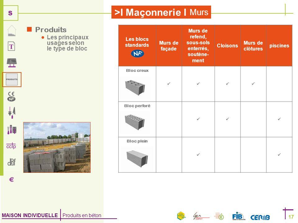 MAISON INDIVIDUELLE Produits en béton >I Maçonnerie I 17 Murs 17 Les blocs standards Murs de façade Murs de refend, sous-sols enterrés, soutène- ment