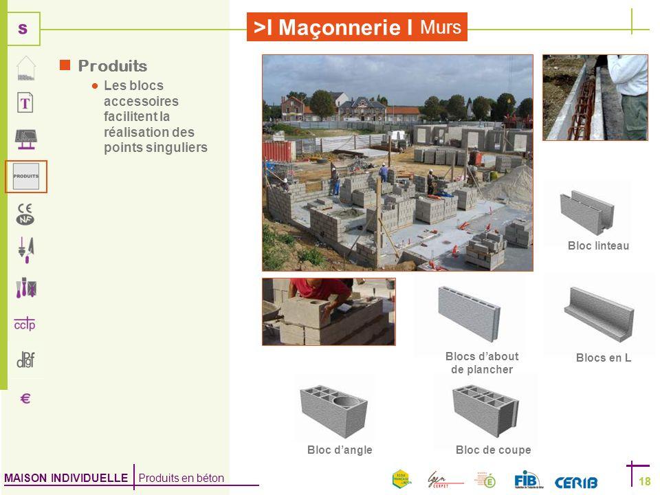 MAISON INDIVIDUELLE Produits en béton >I Maçonnerie I 18 Murs 18 Produits Les blocs accessoires facilitent la réalisation des points singuliers Blocs