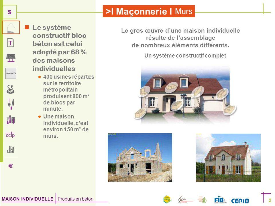 MAISON INDIVIDUELLE Produits en béton >I Maçonnerie I 2 Murs 2 Le système constructif bloc béton est celui adopté par 68 % des maisons individuelles 4