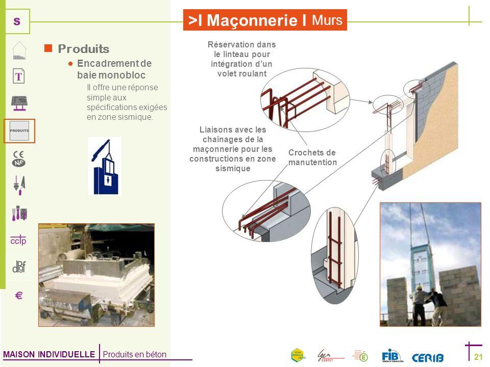 MAISON INDIVIDUELLE Produits en béton >I Maçonnerie I 21 Murs 21 Produits Encadrement de baie monobloc Il offre une réponse simple aux spécifications