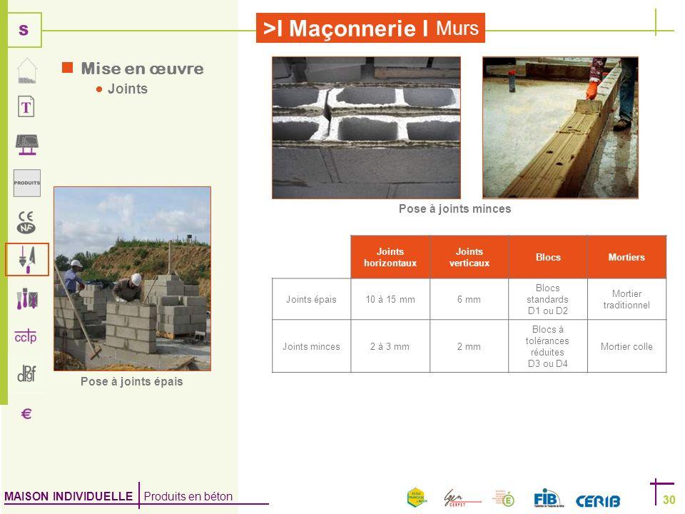 MAISON INDIVIDUELLE Produits en béton >I Maçonnerie I 30 Murs 30 Joints horizontaux Joints verticaux BlocsMortiers Joints épais10 à 15 mm6 mm Blocs st