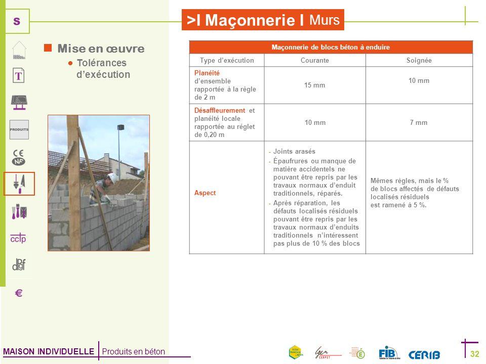 MAISON INDIVIDUELLE Produits en béton >I Maçonnerie I 32 Murs 32 Mise en œuvre Tolérances dexécution Maçonnerie de blocs béton à enduire Type dexécuti