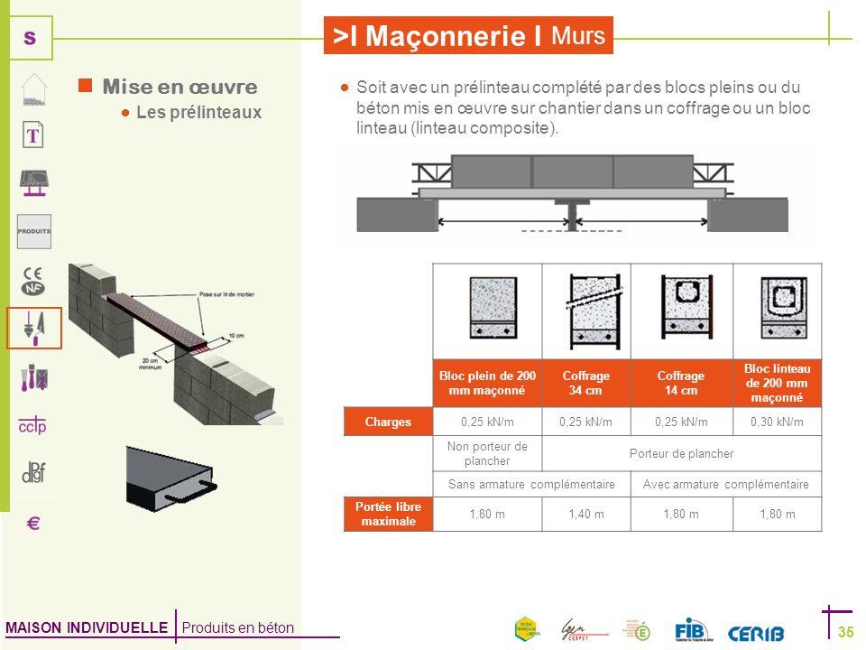 MAISON INDIVIDUELLE Produits en béton >I Maçonnerie I 35 Murs 35 Bloc plein de 200 mm maçonné Coffrage 34 cm Coffrage 14 cm Bloc linteau de 200 mm maç