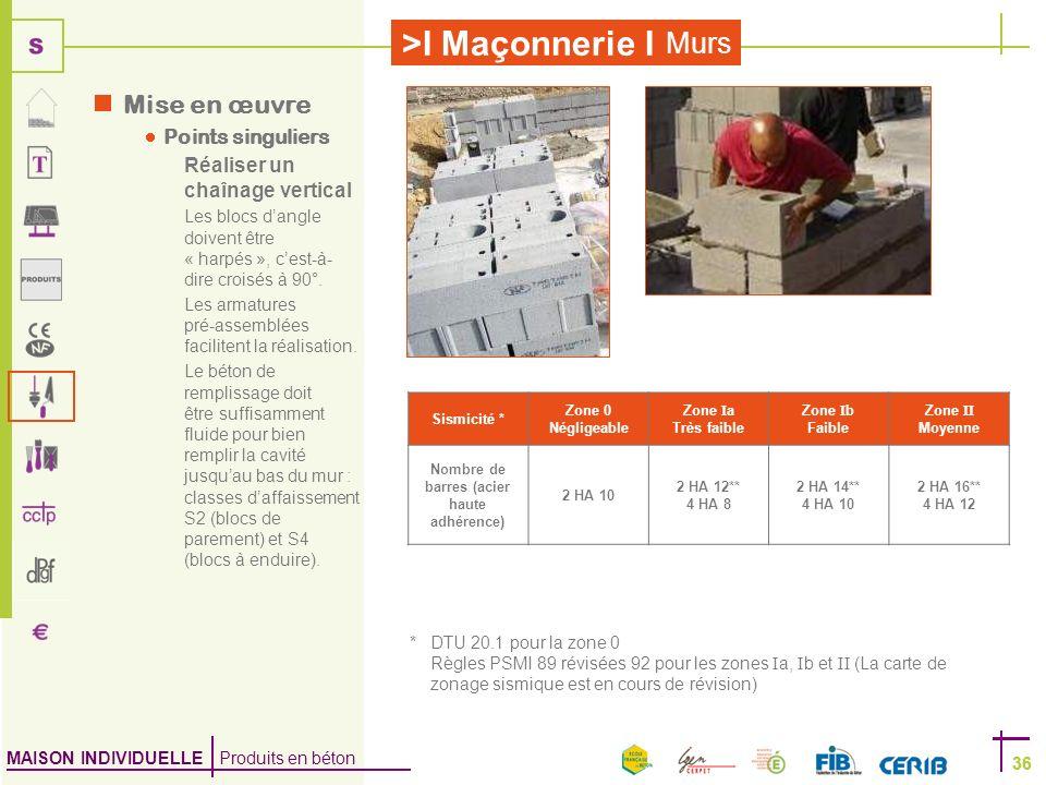 MAISON INDIVIDUELLE Produits en béton >I Maçonnerie I 36 Murs 36 Mise en œuvre Points singuliers Réaliser un chaînage vertical Les blocs dangle doiven