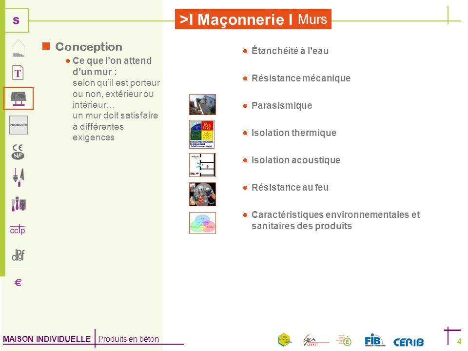 MAISON INDIVIDUELLE Produits en béton >I Maçonnerie I 4 Murs 4 Conception Ce que lon attend dun mur : selon quil est porteur ou non, extérieur ou inté