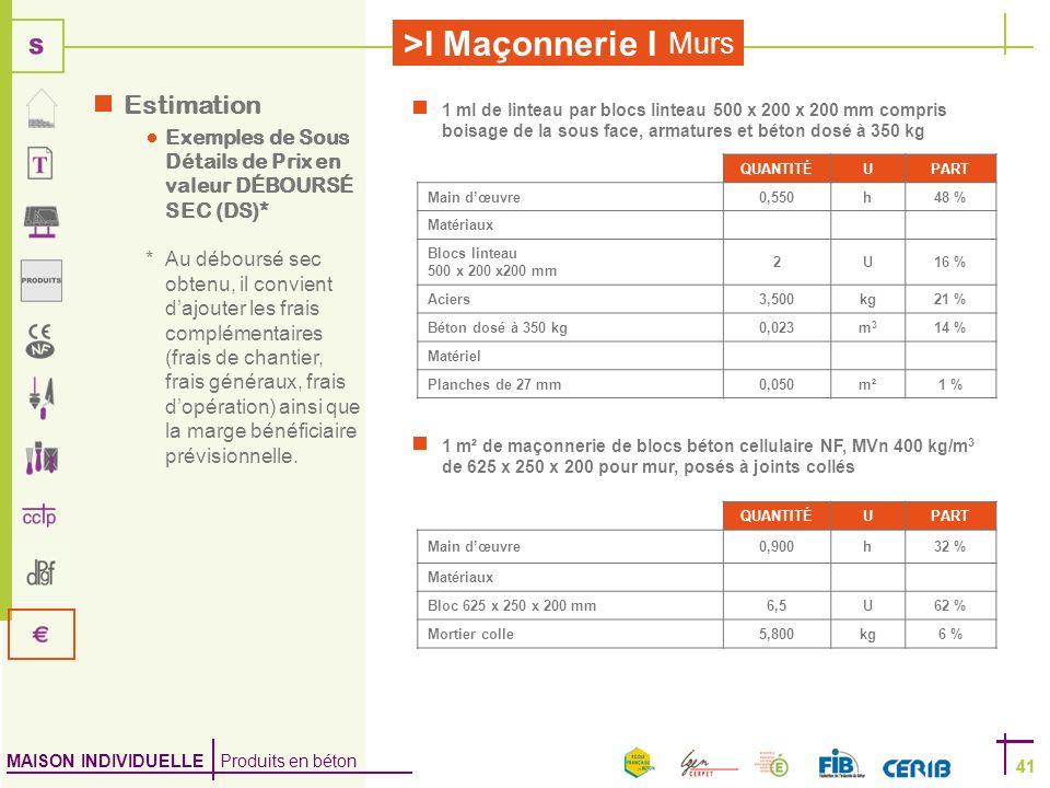 MAISON INDIVIDUELLE Produits en béton >I Maçonnerie I 41 Murs 41 1 ml de linteau par blocs linteau 500 x 200 x 200 mm compris boisage de la sous face,