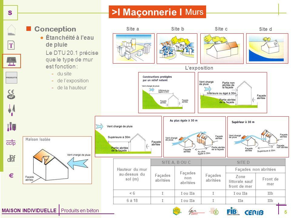 MAISON INDIVIDUELLE Produits en béton >I Maçonnerie I 5 Murs 5 Conception Étanchéité à leau de pluie Le DTU 20.1 précise que le type de mur est foncti