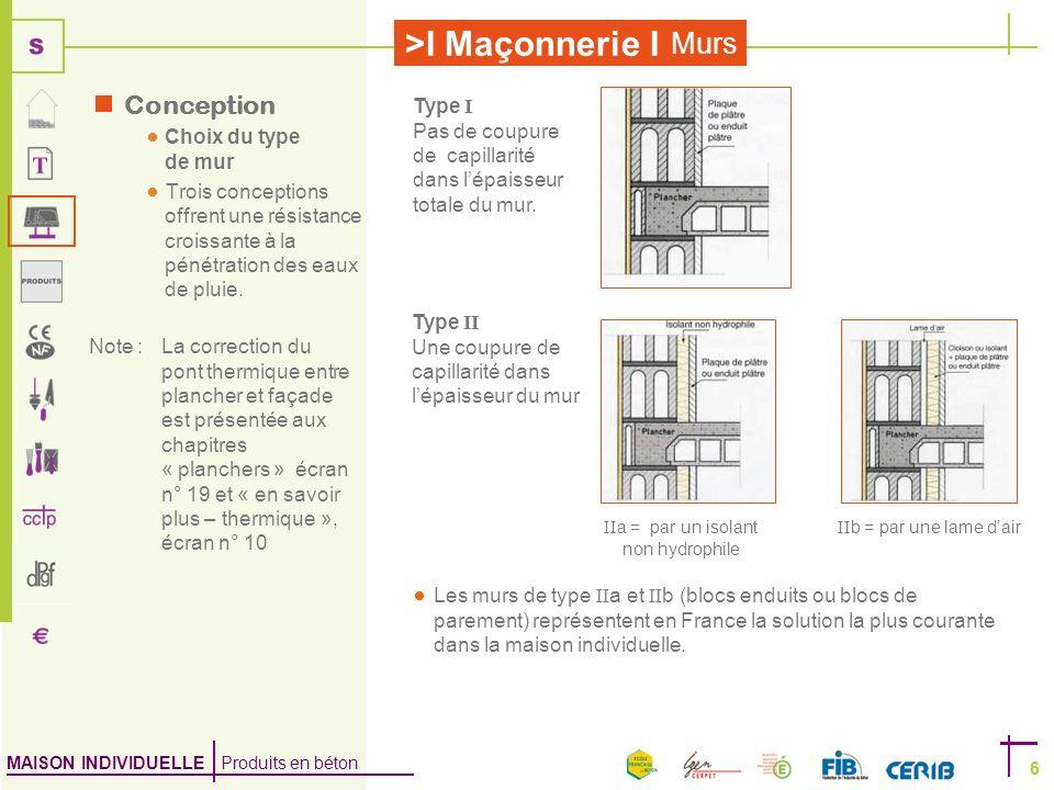 MAISON INDIVIDUELLE Produits en béton >I Maçonnerie I 6 Murs 6 Type I Pas de coupure de capillarité dans lépaisseur totale du mur. Type II Une coupure