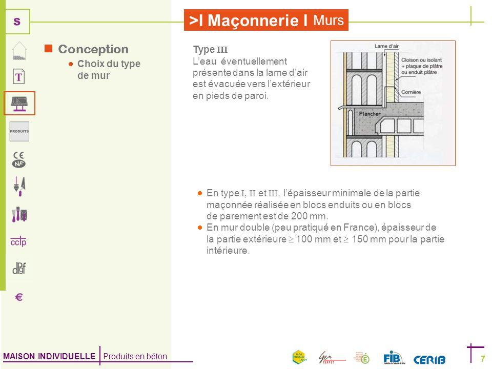 MAISON INDIVIDUELLE Produits en béton >I Maçonnerie I 7 Murs 7 Type III Leau éventuellement présente dans la lame dair est évacuée vers lextérieur en